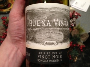 2010 Buena Vista Ida's Selection Pinot Noir, Sonoma, California, USA.