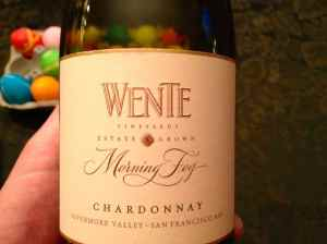 Wente Vineyards 2011 Morning Fog Chardonnay, Livermore, California, USA.