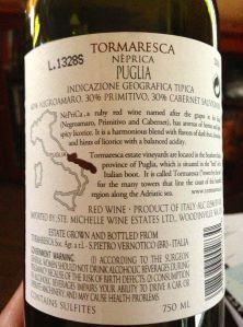 2010 Tormaresca Neprica Red Blend Puglia, Italy.