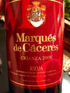 Marques de Caceres Rioja Crianza Red 2008, Spain.
