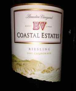 BV Coastal Estates 2007 Riesling, California, USA