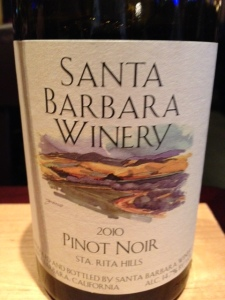 2010 Santa Barbara Winery Pinot Noir, Santa Rita Hills, California, USA.