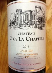 2011 Chateau Close la Chapelle, Cotes de Bordeaux Cadillac Red Blend, Bordeaux, France.
