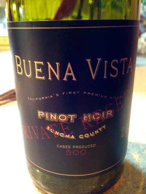 2012 Pinot Noir Private Reserve, Buena Vista, Sonoma, California, USA.