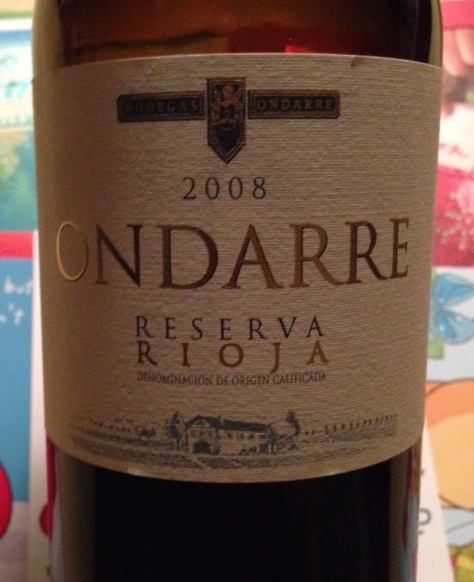 2008 Ondarre Reserva Rioja, Spain.