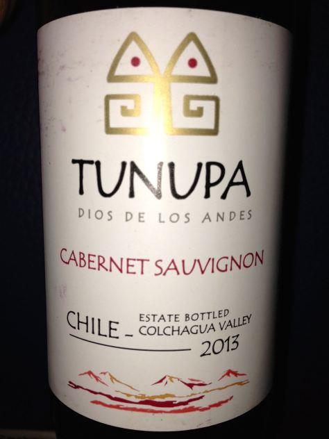 2013 Tunupa Dios De Los Andes, Cabernet Sauvignon, Chile.