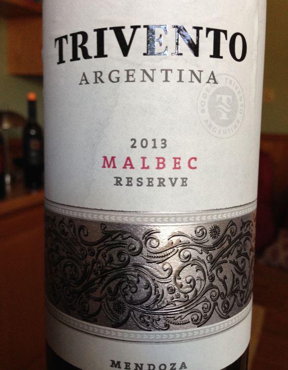 2013 Trivento Malbec Reserve, Mendoza, Argentina.