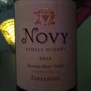 2012 Novy Family Winery Zinfandel, Russian River Valley, Sonoma County, California, USA.