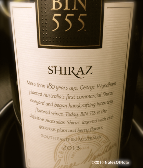 2013 Wyndham Estate Bin 555 Shiraz, South Eastern Australia.
