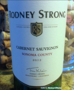 2012 Rodney Strong Cabernet Sauvigon, Sonoma County, California, USA.