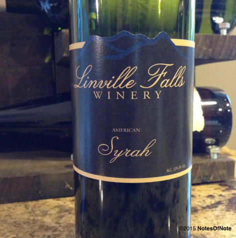 2013 American Syrah, Linville Falls Winery, Newland, North Carolina, USA.