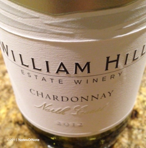 2012 North Coast Chardonnay, William Hill Estate Winery, Napa Valley, California, USA.