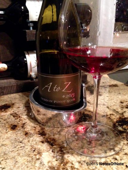 2013 A to Z Pinot Noir, Willamette Valley, Oregon, USA.