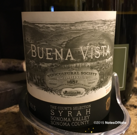 2013 Count's Selection, Syrah, Buena Vista Winery, Sonoma Valley, California, USA.