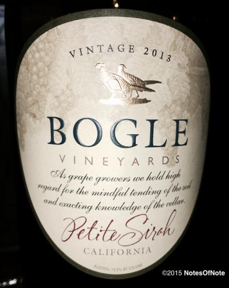 2013 Petite Sirah, Bogle Vineyards, Clarksburg, California, USA.