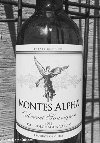 2012 Montes Alpha Cabernet Sauvignon, Colchagua Valley, Chile.
