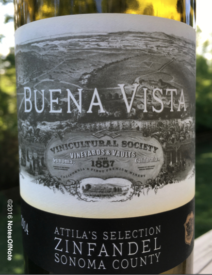 2014 Attila's Selection Zinfandel, Buena Vista Winery, Sonoma County, California, USA.