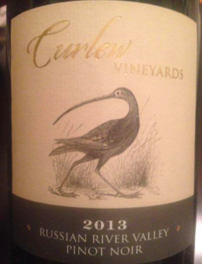 2013 Pinot Noir, Curlew Vineyards, Russian River Valley, California, USA.