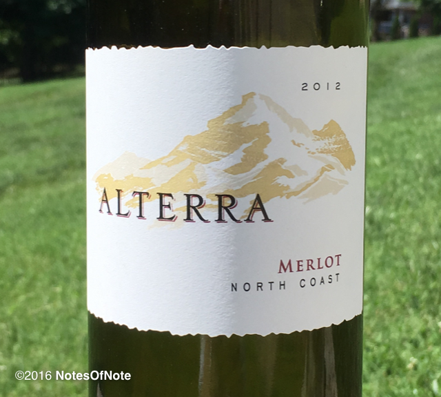 2012 Alterra Merlot, North Coast, Santa Rosa, California, USA.