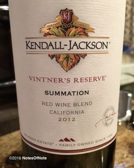 2012 Summation Red Wine Blend, Vintner's Reserve, Kendall-Jackson, Santa Rosa, California, USA.