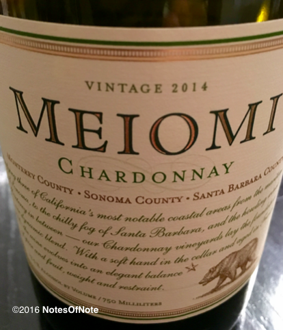 2014 Meiomi Chardonnay, Monterrey, Sonoma, and Santa Barbara County, California, USA.
