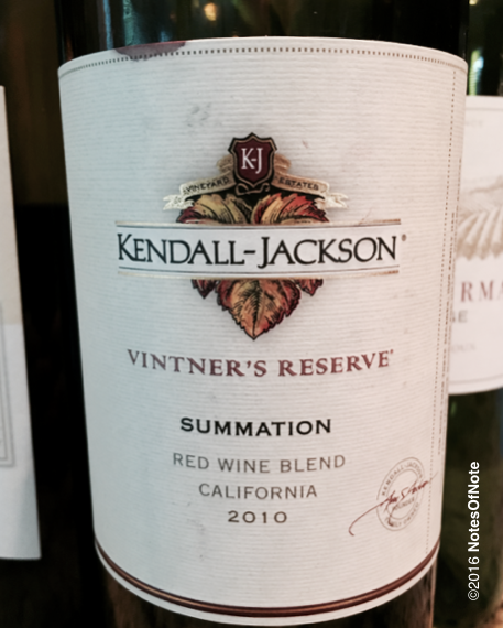 2010 Summation Red Blend, Vintner's Reserve, Kendall-Jackson, Santa Rosa, California, USA.