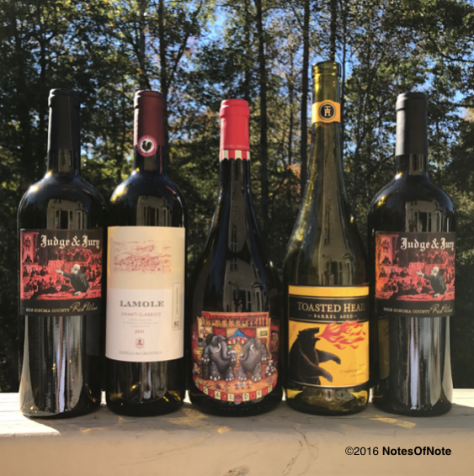 2013 Judge & Jury Red Blend, Kunde Family Estate, Sonoma County, California, USA; 2011 Lamole Gran Selezione Chianti, Italy; 2014 Petite Petit, Michael David Winery, Lodi, California, USA; 2014 Toasted Head Chardonnay, California, USA.