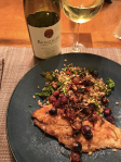 Crispy catfish with kale-farro salad and warm grape relish, as served with the 2013 Benzinger Chardonnay.