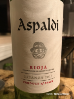 2013 Aspaldi Rioja Crianza, Rioja, Spain.