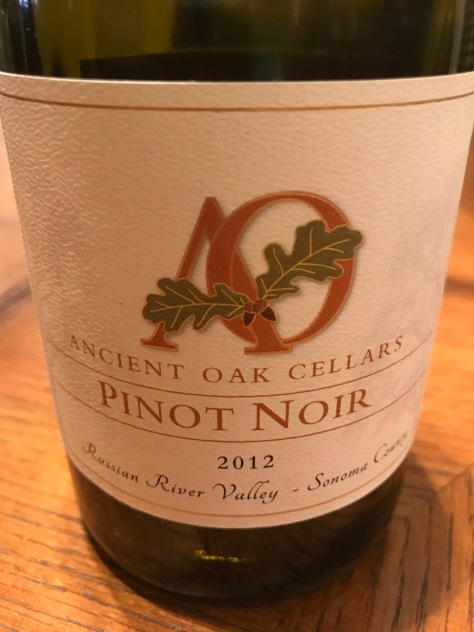 2012 Pinot Noir, Ancient Oak Cellars, Russian River Valley, Sonoma, California, USA.