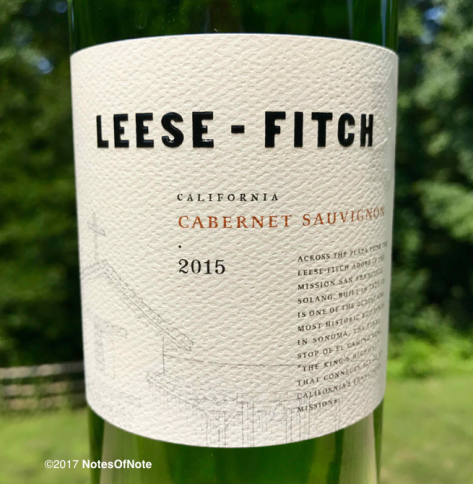2015 Leese-Fitch Cabernet Sauvignon, California, USA.