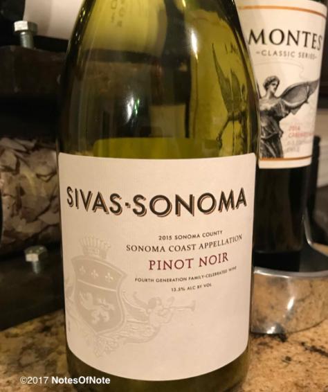 2015 Sivas-Sonoma Pinot Noir, Sebastiani Wines, Sonoma County, California, USA.