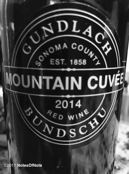 2014 Mountain Cuvee Red Wine, Gundlach Bundschu, Sonoma County, California, USA.