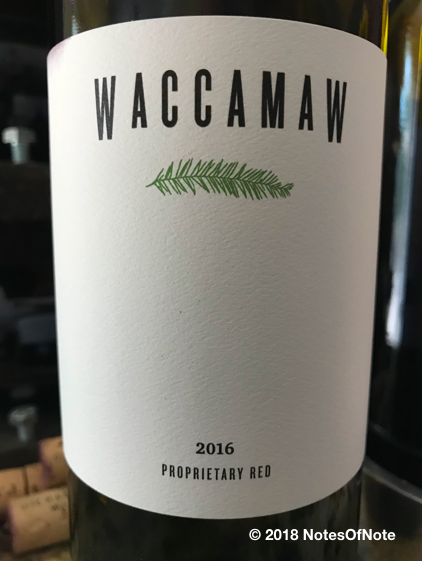 2016 Waccamaw Proprietary Red Blend, Waccamaw Wines, California, USA.