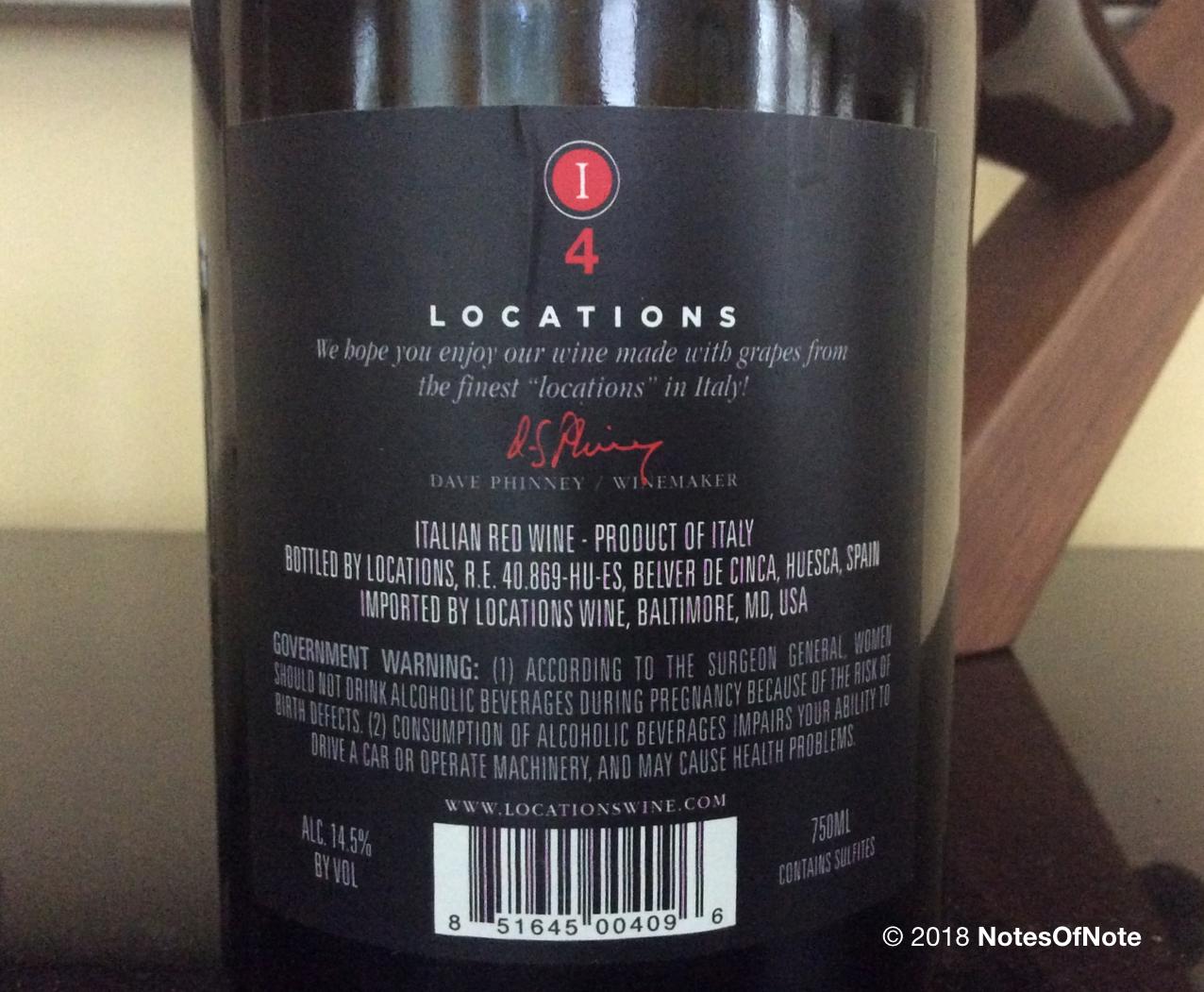 I4 Locations Wine, Italy.