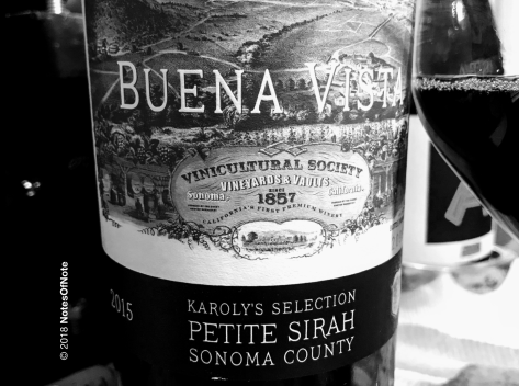 2015 Karoly's Selection Petite Sirah, Buena Vista Winery, Sonoma County, California, USA.