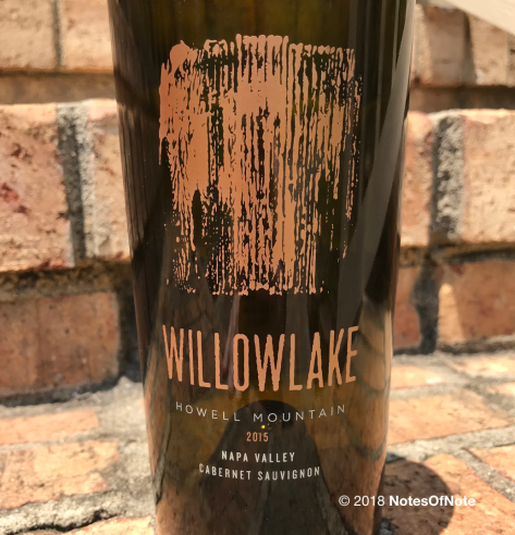 2015 Willowlake Cabernet Sauvignon, Willowlake Wines, Napa Valley, California, USA.