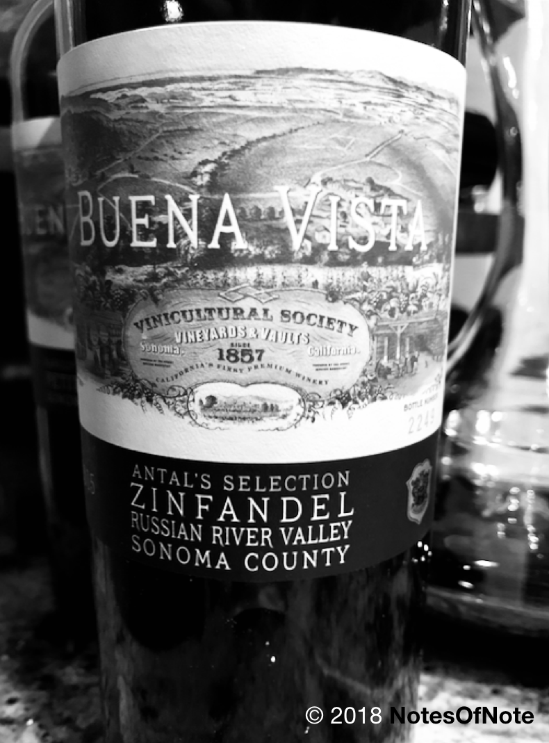 2015 Antal's Selection Zinfandel, Buena Vista Winery, Russian River Valley, Sonoma, California, USA.
