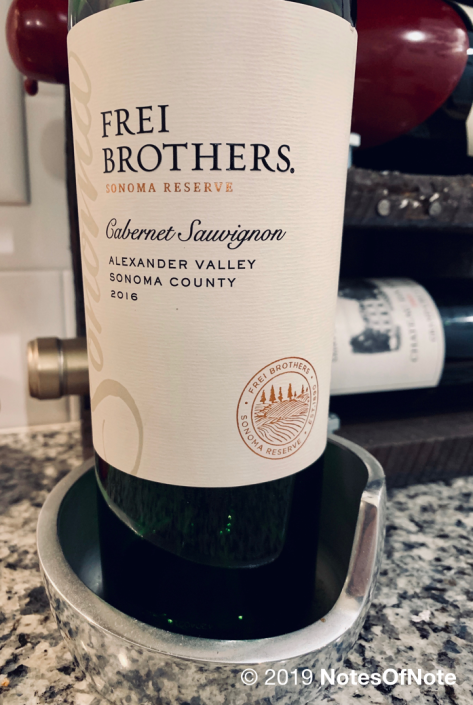 2016 Cabernet Sauvignon, Sonoma Reserve, Frei Brothers Winery, Alexander Valley, Sonoma, California, USA.