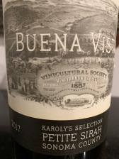 2017 Karoly's Selection Petite Syrah, Buena Vista Wines, Sonoma County, Sonoma, California, USA.