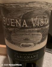 2018 The Count's Selection Carignane, Buena Vista Winery, Mendocino County, California, USA.