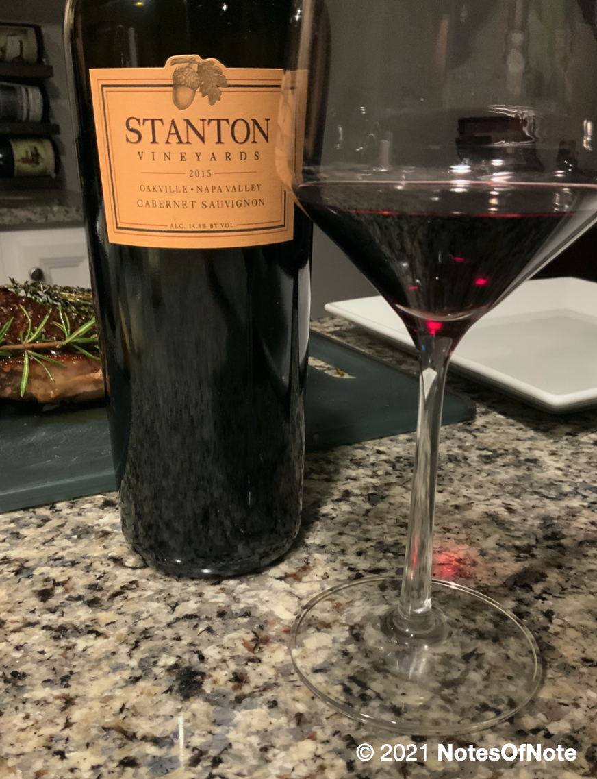 2015 Cabernet Sauvignon, Stanton Vineyards, Oakville, California, USA.